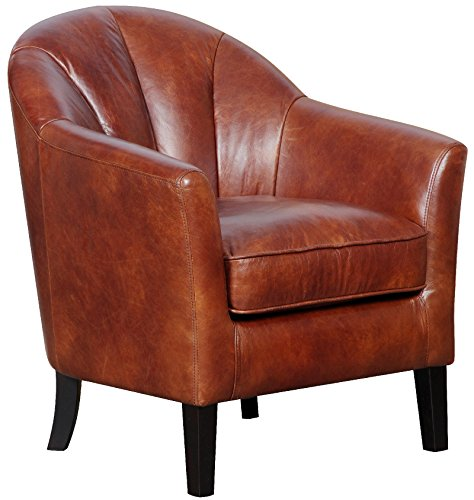 The Park Lane - 100% Genuine Leather Accent Tub Chair in Chestnut