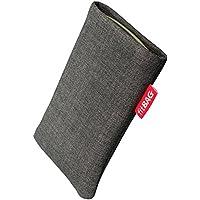 fitBAG Jive Grau Handytasche Tasche aus Textil-Stoff mit Microfaserinnenfutter für HTC One mini 2