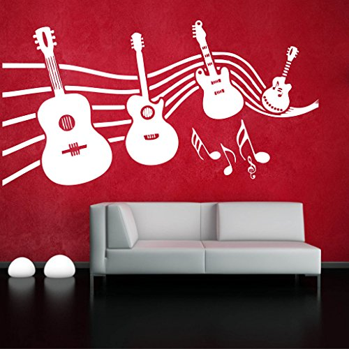 Decor Villa Music With Guitar Wall Decal And Sticker White Color Extra Large Size- 109*58 Cm  available at amazon for Rs.619