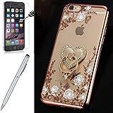 Kompatibel mit iPhone 6S/6 Hülle,[Hartglas Schutzfolie Stylus] Strass Diamant Bling Glitzer Überzug TPU Silikon Handyhülle Du