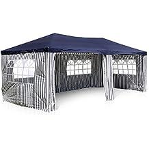 Nexos GM36077 - Pe-pabellón secciones carpa de fiestas de la página 4 y 2 entradas para la celebración final terraza o fijo como plano de refugio 110 g / m² resistente al agua x 6 m azul 3