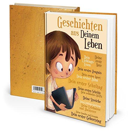 """Notizbuch """"Geschichten aus Deinem Leben"""" Jungen (Hardcover A4, Blankoseiten): Das Eltern-für-Kinder - Tagebuch. Ein besonderes Erinnerungsgeschenk für später."""