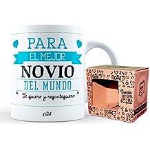 Mr Cool Taza en Caja Regalo en Mensajepara El Mejor Novio del Mundo Te Quiero y Requetequiero, Cerámica, Multicolor, 15x10x5 cm