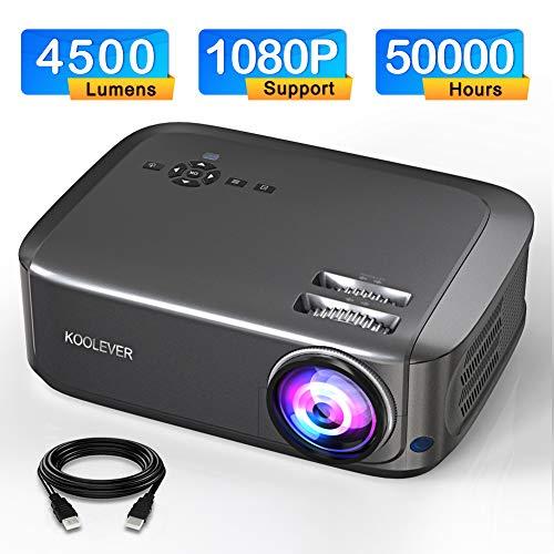 Proiettore, 1080P Full HD 4500 lumen Videoproiettore da 50000 ore per giochi di intrattenimento per film di viaggio, supporta HDMI VGA AV USB Micro SD