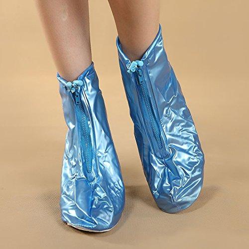 HHBO Coperture impermeabili impermeabili del pattino di scarpa con tacco alto riutilizzabile Blue