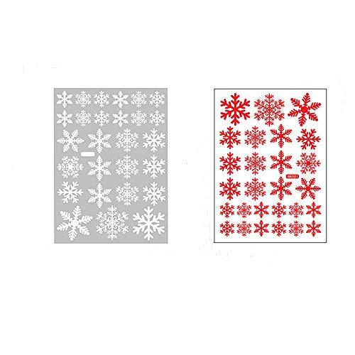 winerway 108Stück Weihnachten Schneeflocke Fenster klammert Sich an, 2Farbe Statische Aufkleber, Abnehmbaren PVC Aufkleber für Weihnachten Windows Spiegel Gläser Dekoration, Set von 4Tabelle