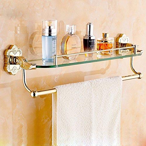MDRW-Handtuchhalter Im Europäischen Stil Kupfer Vergoldet Gold Geschnitzten Single Layer Band Glas Kommode Regal Hardware Anhänger