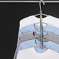 Zantec 3/5 capas de acero inoxidable antideslizante suéter camisa colgando ropa percha ropa almacenamiento espacio ahorrador