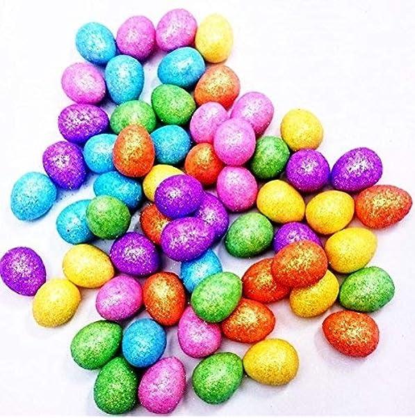 Easter Mini Glitter Eggs Pack of 60 Easter Bonnet Arts /& Craft Decoration
