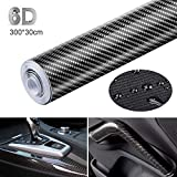 CompraFun 6D Pellicola Adesiva per Auto, 6D Fibra di Carbonio