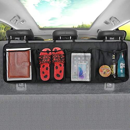 Car Boot Organiser MATCC BackSeat Organizer Waterproof Oxford Cloth Car Seat Storage Trunk Organizers with 4 Pocket, Adjustable Straps, Velcro, 43.3
