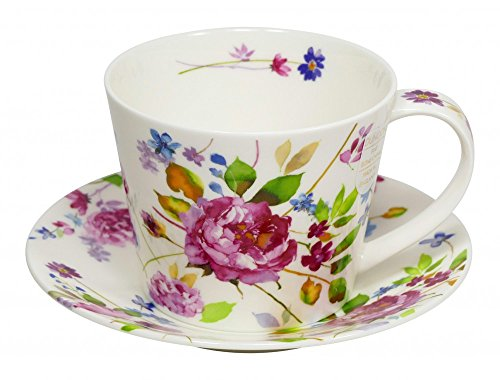 Dunoon Tasse Islay Wild Garden Rose 350ml mit Untertasse Wild Roses Bone China