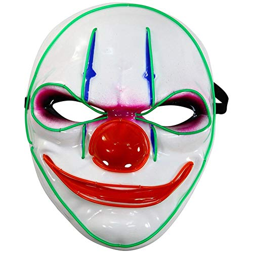StageOnline Halloween Masken Clown Glühende Maske LED Leuchten Maske Grimasse Maske für Karneval (Batterien Nicht im Lieferumfang Enthalten)