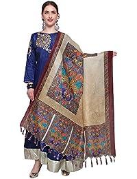 Mrinalika Fashion Cotton Silk Digital Print Dupatta (Dupattas For Womens _Salwar Suit Dgdpt09_Beige_Free Size)