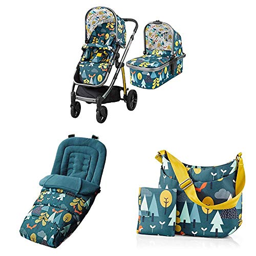 Cosatto Wow Pram and Pushchair, from Birth Carrycot and Pushchair Suitable upto 25 kg, Fox Tale with Footmuff and Change Bag