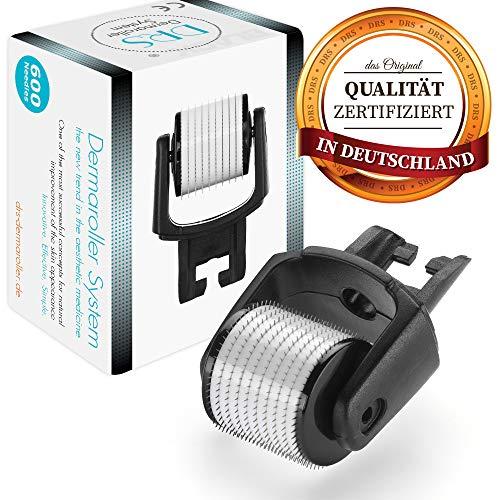 DRS Black Ersatzkopf mit 600 Nadeln für alle DRS Dermaroller mit wechselbarem Aufsatz - das Original, Nadeln aus Edelstahl, Gebrauchsanweisung auf Deutsch und Englisch, Nadellänge:0.50mm