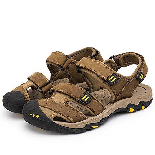 Aiyuda Herren Strand Sandalen Leder Sommer Wandern Wandern Wasser Schuhe Brown