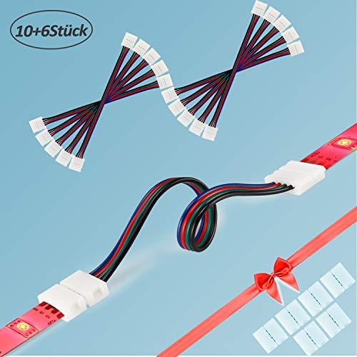 Preisvergleich Produktbild LED Stripe Verbinder,  (10+6 Stück) Für 10mm 4 Polig RGB 5050 LED Strip Verbinder,  LED Streifen Verbindungskabel,  LED Steckverbinder,  Led Streifen Verbinder Flexibel (10+6 Stück)