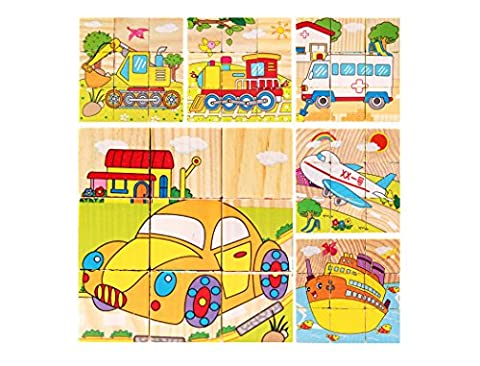 DreamFlying 9 Piece Wooden Jigsaw Cube Puzzle Toy - Transportation