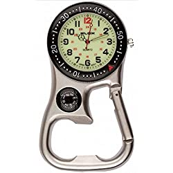 Silver/Black Luminous Clip-on Carabiner Fob Watch with Compass for Doctors Nurses Paramedics Chefs