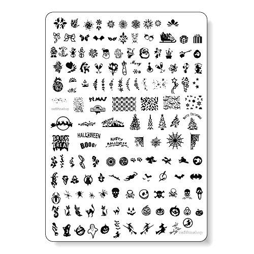 MAXI Stamping Schablone nfxmas03 - Weihnachten Christmas XMAS + Halloween mit Eiskristallen, Weihnachtsbäumen, Schneemännern usw.
