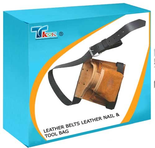 TK9K® - Tool Storage Leather Belts Leather Nail & Tool Bag 8 Pocket 260mm x 230mm Heavy duty suede and leather. 2 hammer loops, plier pouch and tape holder. Adjustable leather belt. by SILVERL (Leather Duty Tool Bag Heavy)