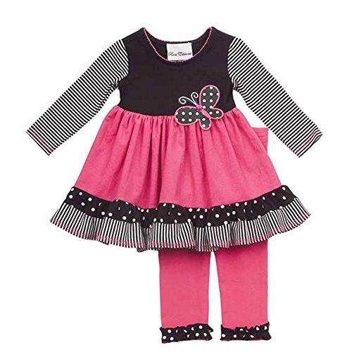 Rare Editions Kinder Mädchen Tunika Kord Kleid mit Leggings Hose Schmetterling pink schwarz weiß (98) (Kleider Rare Editions Baby)