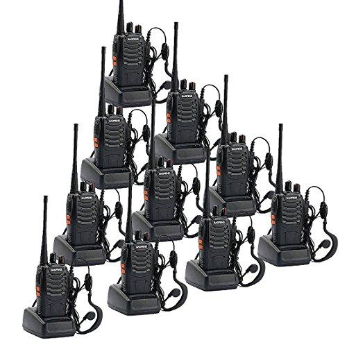 Walkie Talkie, UHF 400-470 MHz Wiederaufladbare Long Range Funkgerät mit Original Ohrhörer für Erwachsene Camping Wandern Kommunikation (5 Paare) -