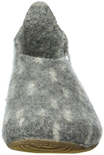 Living Kitzbühel Damen Slipper mit Strukturwalk und Lammfell Innensohle Pantoffeln Grau (Grau 610)