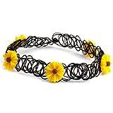 Choker Elastische - SODIAL(R) Tattoo Choker Elastische Stretch Halskette Henna Vintage Boho 80er 90er Jahre Gelb Blume