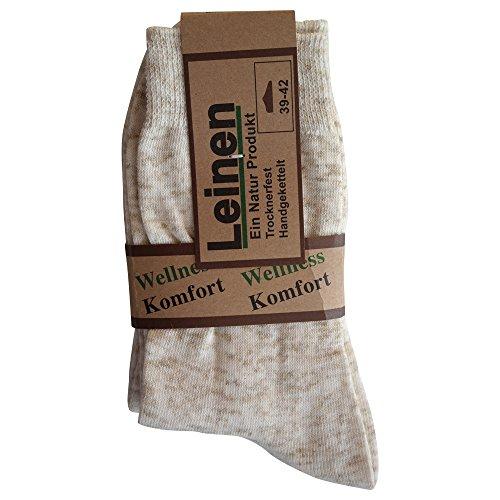 6 Paar Natur Leinen Baumwolle Socken ohne Naht, Natur, 43/46 -