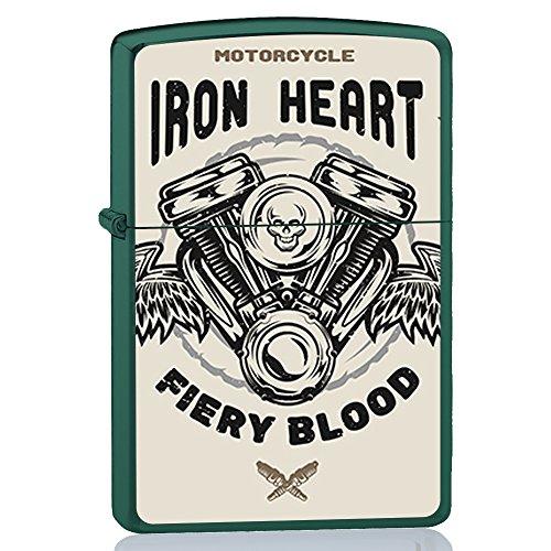 BJJ VALART Grünes Feuerzeug, Benzinfeuerzeug mit Design : Motorrad Motor, Stahl im Blut