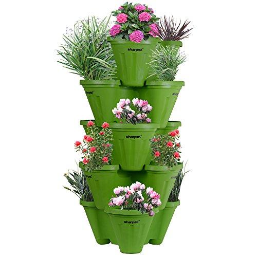Sharpex Stack-A-Pot Planter Set (Green, 5-Piece)