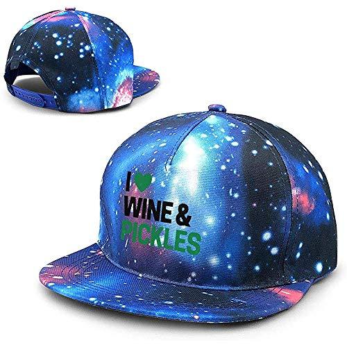 Olga Vaughan Ich Liebe Wein \\u0026 Essiggurken Unisex Sternenhimmel Flat Baseball Caps Verstellbarer Hut Flat Bill Baseball Cap