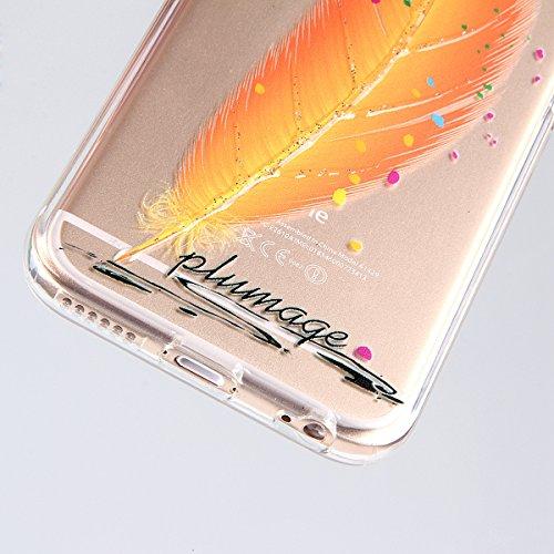 Custodia per iphone 6 Plus, Morbido Copertura per iphone 6 5.5, iphone 6 Plus Caso Ultra Slim, iphone 6/6S Plus morbido Case Cover, Ukayfe Stampa Moda Biker Girl TPU del gel di gomma pelle protettiva Piume arancioni