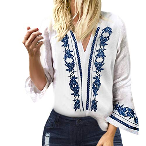 Blouson Tunika (Damen Blusen Tuniken Ärmel mit V-Ausschnitt Blauer und weißer Porzellandruck im Ethno-Stil Oliviavan Bluse T Shirts Lang Pulli)