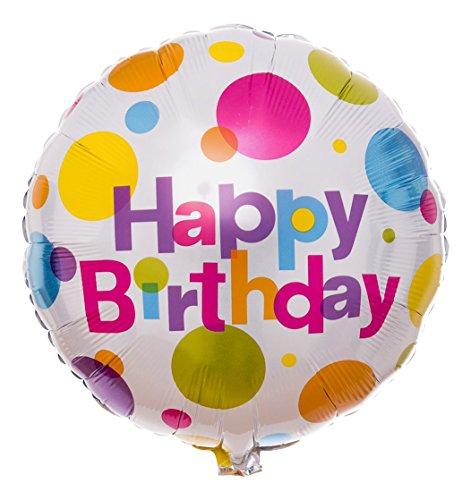 Atemluft Montage (Ballongruesse - Gepunkteter Happy Birthday Ballon als Ballongruss heliumgefüllt im Überraschungskarton)