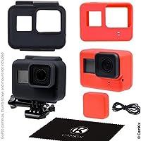 Fundas de silicona para el marco de su GoPro Hero 5 Black - 2 Cubiertas protectoras - Negro / Azul - protección a su cámara GoPro Hero 6 / 5 dentro del marco