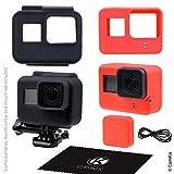 CamKix® Silikonhüllen kompatibel mit Gopro Hero 7/6 / 5 Black - 2 Schutzhüllen - Schwarz (Rahmen) / Rot (Kamera) - Schutz für Ihre GoPro Hero 7/6 / 5 Black Kamera und den Rahmen