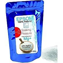 Sales Epsom Puras - Magnesio Natural 500 g ○ Eliminar las toxinas y metales pesados ○ Reducir el estres ○ Anti inflamación ○ Exfoliante Facial y ...