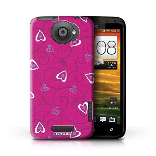 Kobalt® Imprimé Etui / Coque pour HTC One X / Rouge/Rose conception / Série Coeur Vigne Motif Rose/Violet