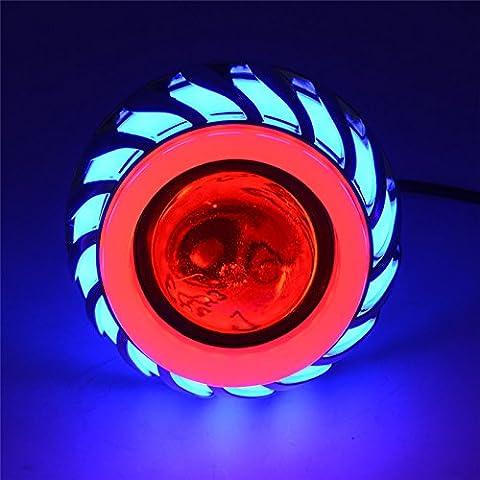 Andux Zone Angel Devil Eyes moto / voiture LED Projecteur Hi / Low Phare CREE EMY-03 (Bleu / Rouge Halo, 2 pièces)