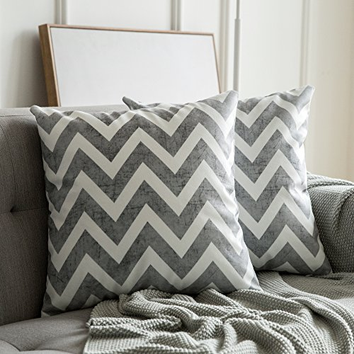 Miulee confezione da 2 fodere scamosciate per cuscini federe geometriche stampate copricuscini decorazione per divano letto casa auto 45x45cm onda grigio