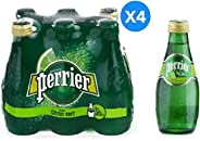 Perrier Glass Bottle Natural Sparkling Lime Flavored Water - 200ml (Pack of 24)