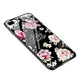 iPhone 7 Plus Hülle Coole, iPhone 8 Plus handyhülle Schwarz, Glossy Retro Rose Shock Absorption Dünn 2 in 1 (Glas Hülle + Weiche TPU Bumper ) Slim Case für iPhone 7 Plus 5,5