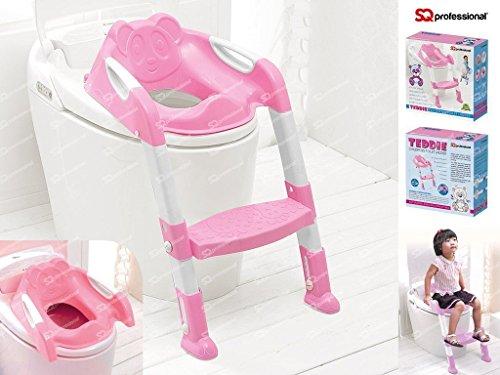 SQ Professional Pro Pink Teddie Baby Training WC-Leiter Töpfchen Sitz mit Treppe
