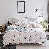 SHWOOT vierteiliges Set aus frischer Baumwolle mit Bettwäsche aus reinem Baumwoll-Twill im Princess-Stil CC1, 2,0 m