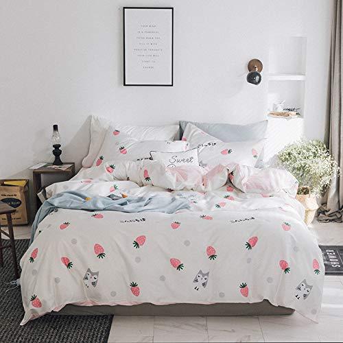 SHWOOT vierteiliges Set aus frischer Baumwolle mit Bettwäsche aus reinem Baumwoll-Twill im Princess-Stil CC1 1,8 m