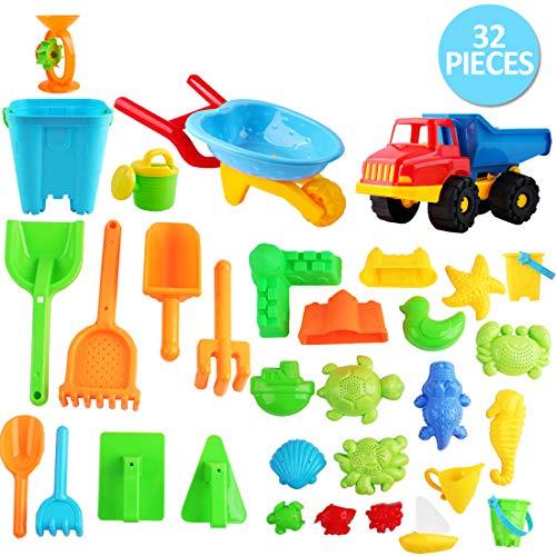 deAO Beach Toy Set Verschiedene Accessoires zum Spielen mit Sand und Wasser Kinderaktivität für das Sommer-Set Enthält mehr als 30 Teile