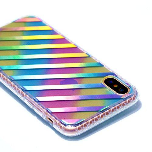 Apple iPhone X Hülle, Voguecase Schutzhülle / Case / Cover / Hülle / Plating TPU Gel Skin (Datura) + Gratis Universal Eingabestift Schräge Streifen